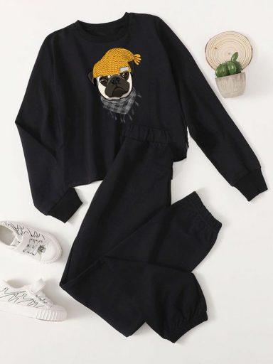 Czarny zestaw dresowy MOPS W CZAPCE (bluza, spodnie) Love&Live