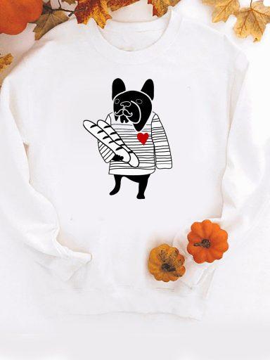 Bluza w kolorze białym Francuski buldog ZUZU