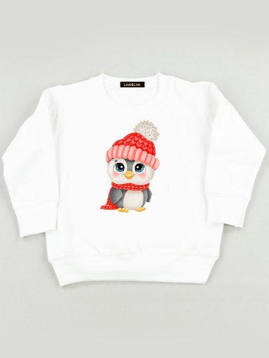 Bluza biała dla dzieci Pingwin Love&Live