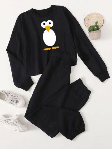 Czarny zestaw dresowy Poprostu Pingwin (bluza, spodnie) Love&Live