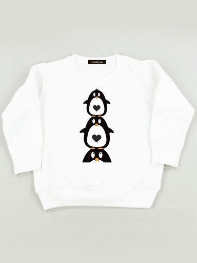 Bluza biała dla dzieci Jeden Pingwin, dwa ... Love&Live