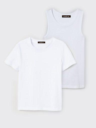 Zestaw dziecięcy t-shirt i koszulka bez rękawów w kolorze białym Love&Live