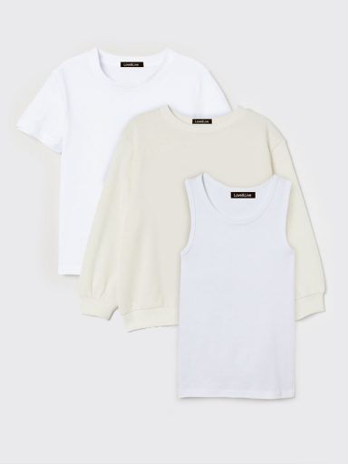 Zestaw dziecięcy bluza, t-shirt i koszulka bez rękawów w kolorze białym Love&Live