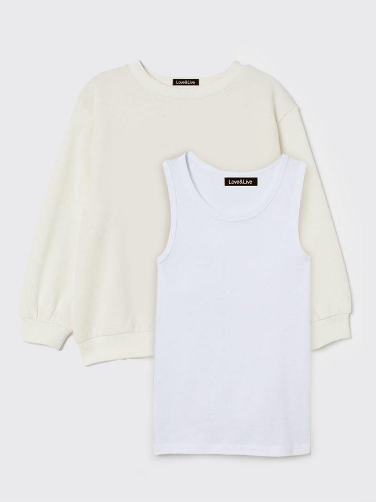 Zestaw dziecięcy bluza i koszulka bez rękawów w kolorze białym Love&Live