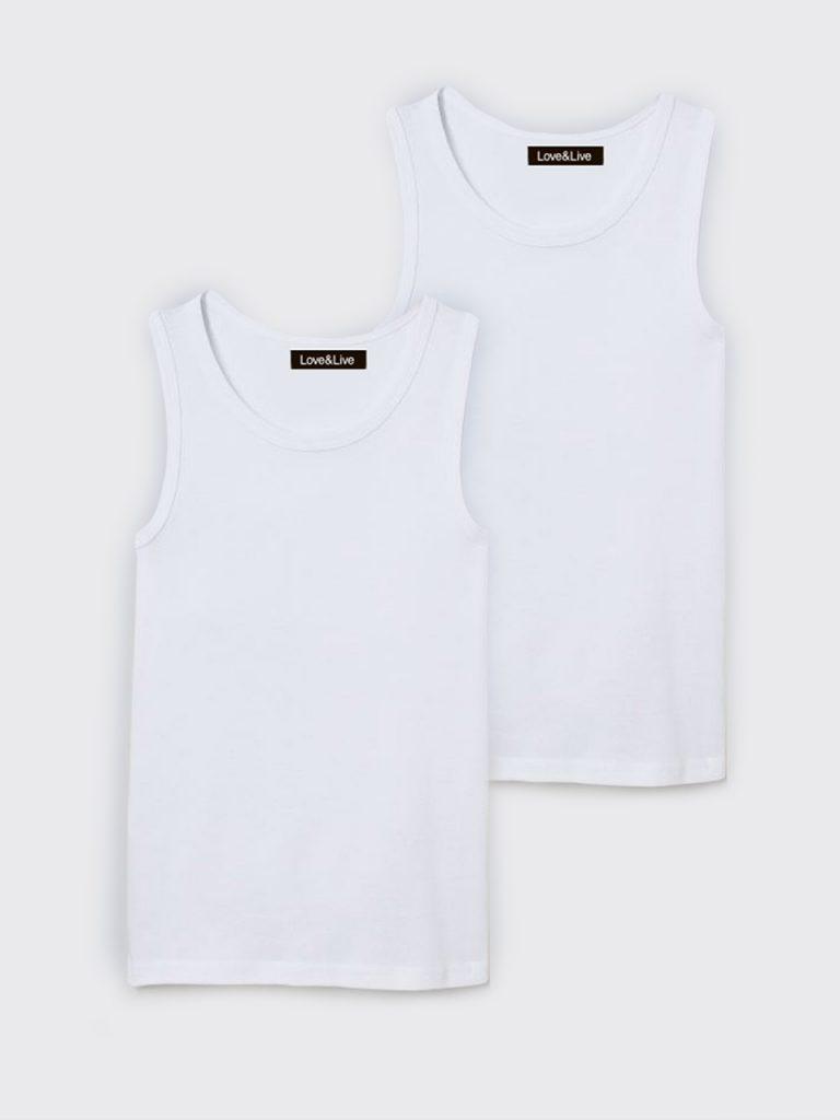 Zestaw dziecięcy z 2 koszulek bez rękawów w kolorze białym Love&Live
