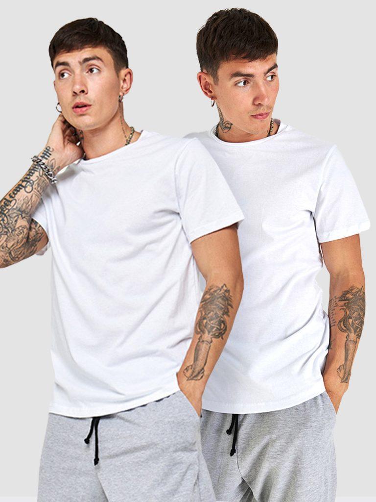 Zestaw białych t-shirtów z okrągłym dekoltem 2 szt. Love&Live