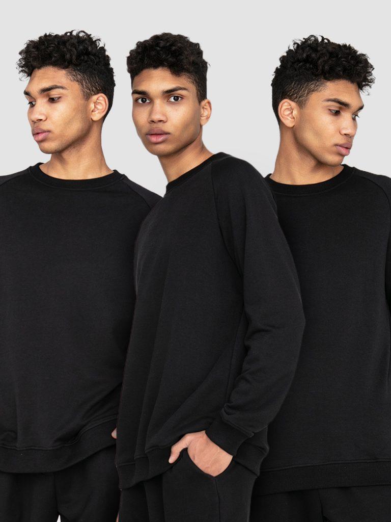 Zestaw męskich czarnych bluz 3 szt. Love&Live
