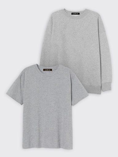 Zestaw szary t-shirt i bluza Love&Live
