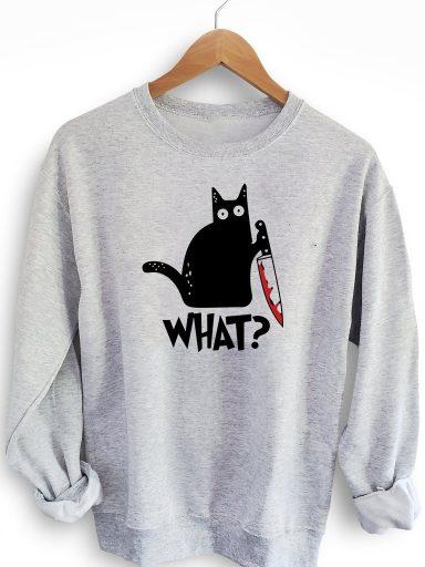 """Bluza w kolorze szarym CAT SAYS """"WHAT?"""" Love&Live"""