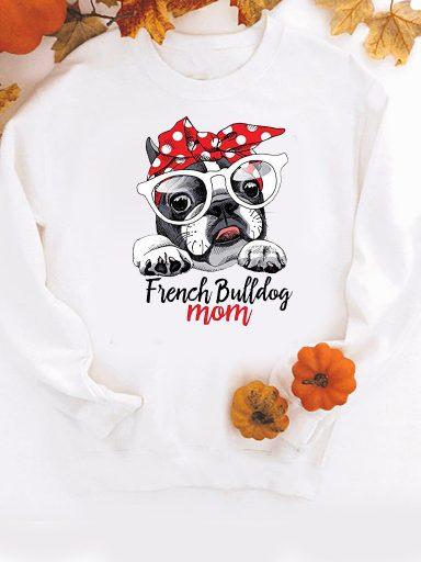 Bluza w kolorze białym French Bulldog mom ZUZU