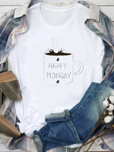 T-shirt biały HAPPY MONDAY Love&Live