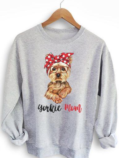 Bluza w kolorze szarym YORKIE MOM Love&Live