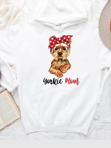 Bluza z kapturem w kolorze białym YORKIE MOM Love&Live