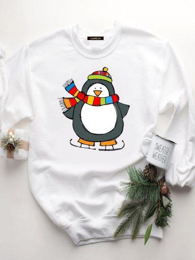 Bluza w kolorze białym PINGWIN NA ŁYŻWACH Love&Live