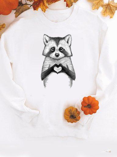 Bluza w kolorze białym Raccoon loves you Love&Live