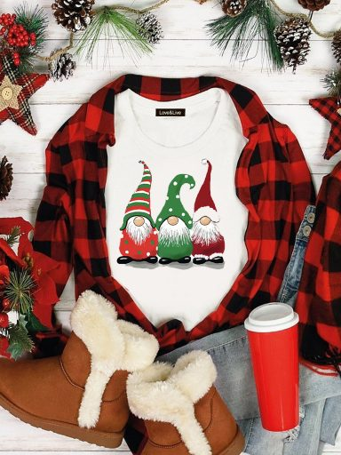 T-shirt biały CHRISTMAS GNOMES Love&Live