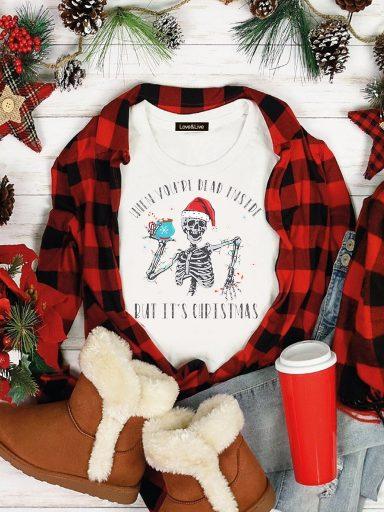 T-shirt biały NEW YEAR'S SKELETON Love&Live