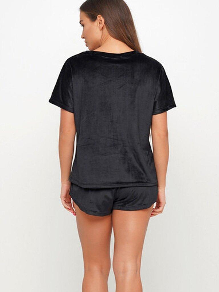 Piżama pluszowa czarna na bawełnie (koszulka, spodenki) PURE