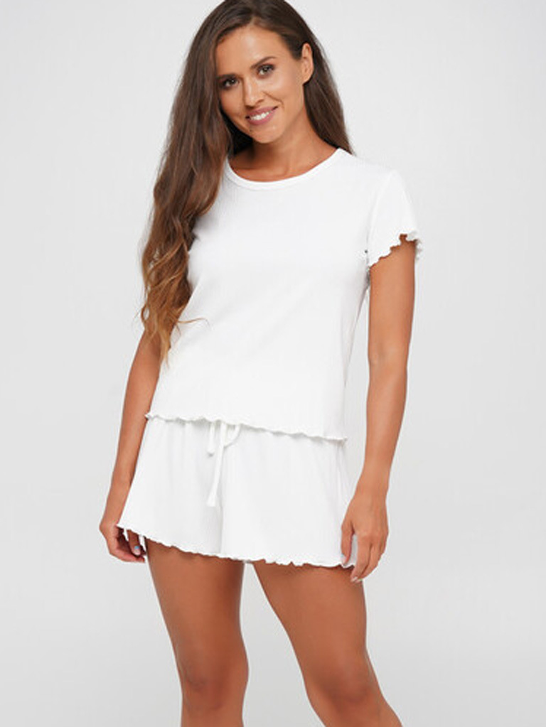 Piżama z dzianiny w prążki mleczna (t-shirt, koszula, szorty )PURE