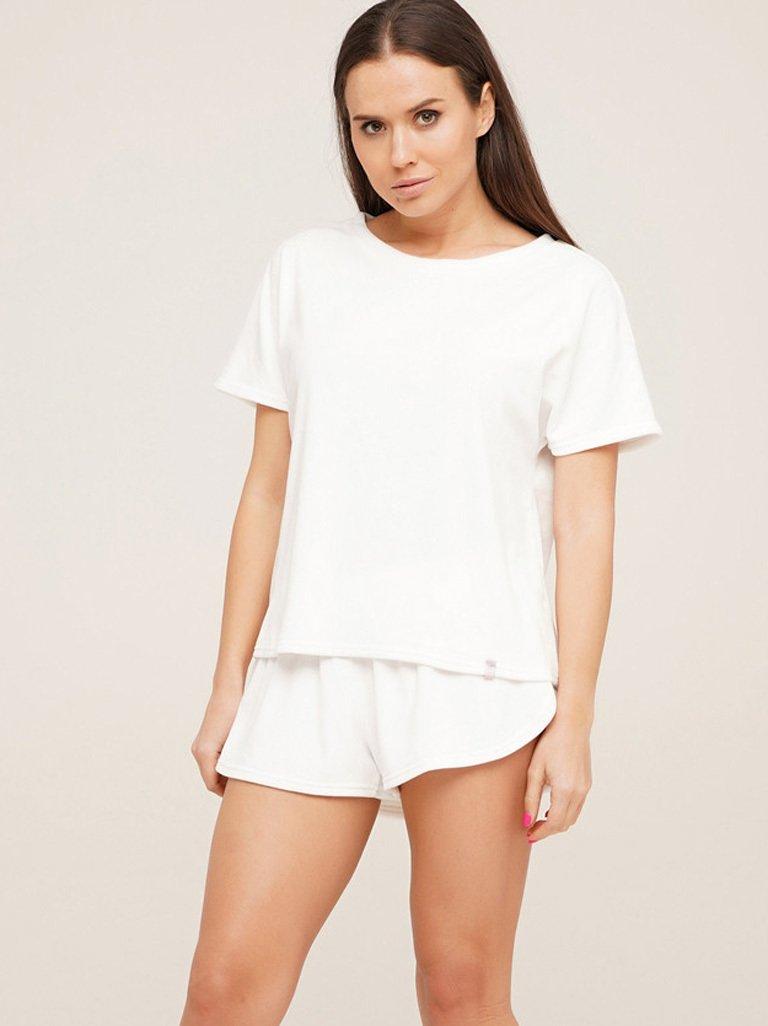 Piżama pluszowa biała na bawełnie (koszulka, spodenki) PURE