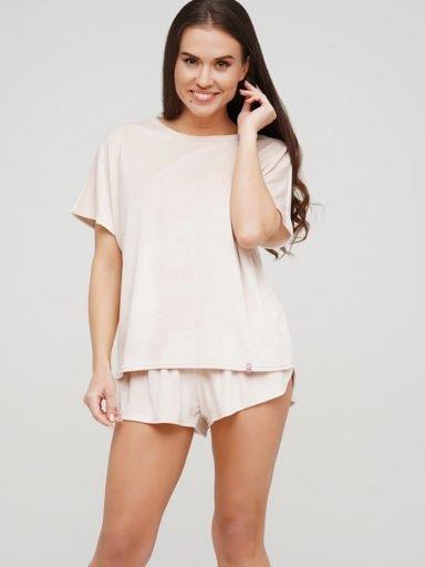 Piżama pluszowa beżowa na bawełnie (koszulka, spodenki) PURE